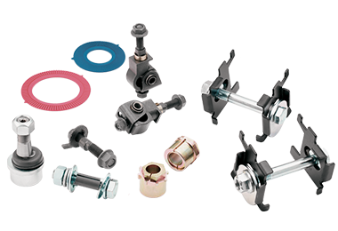 A variety of MOOG alignment parts, such as cam plate adjusting kits, control arm shafts and mounts, rear contact shims, etcetera